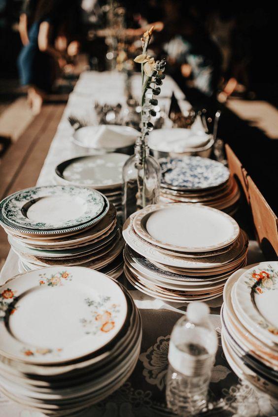 vintage floral plates wedding