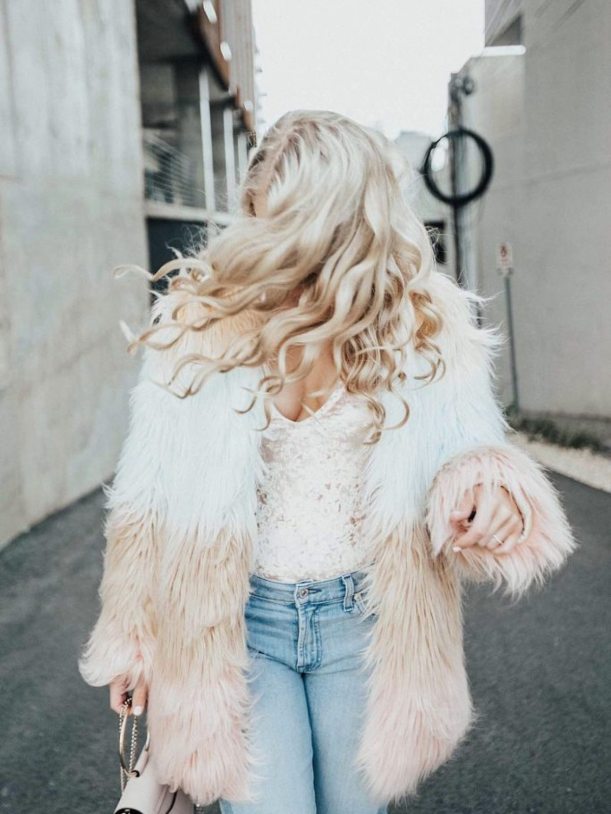 ombre faux fur coat