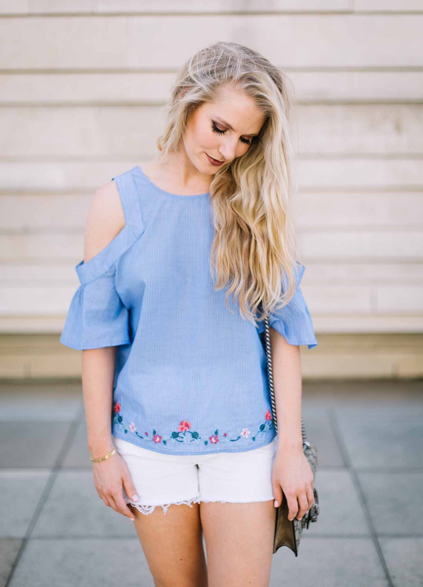 Embroidered Cold Shoulder