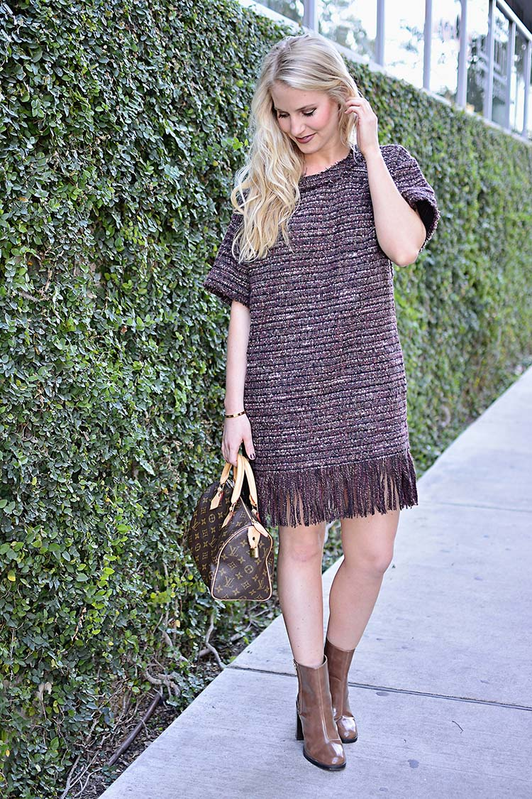 Fashion blogger The Trendy Tomboy wear ASTR 'Margo' Fringe Hem Shift Dress