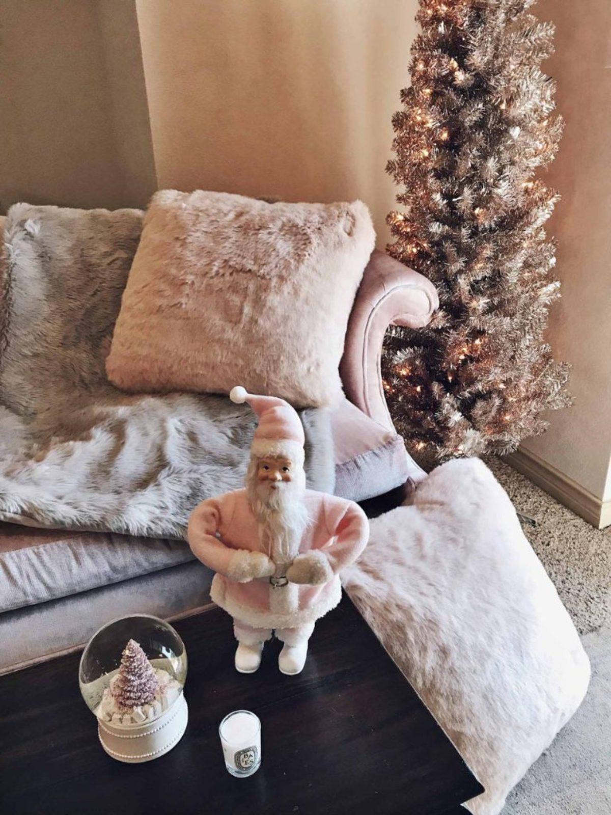 blush pink holiday decor