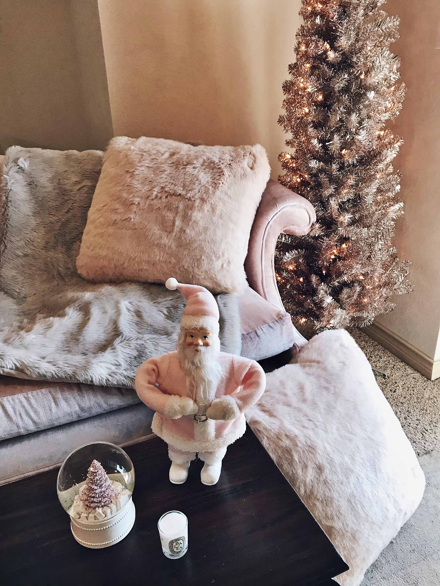 blush pink holiday decor