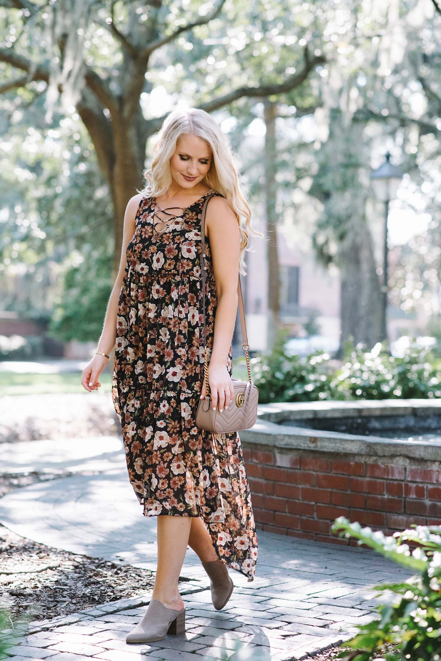 fall floral maxi dress