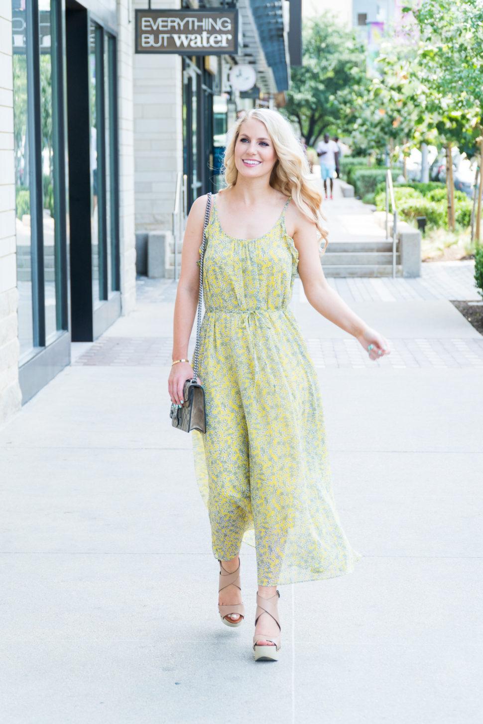 Fashion blogger The Trendy Tomboy wears Ruffle Trim Slip Dress - Who What Wear