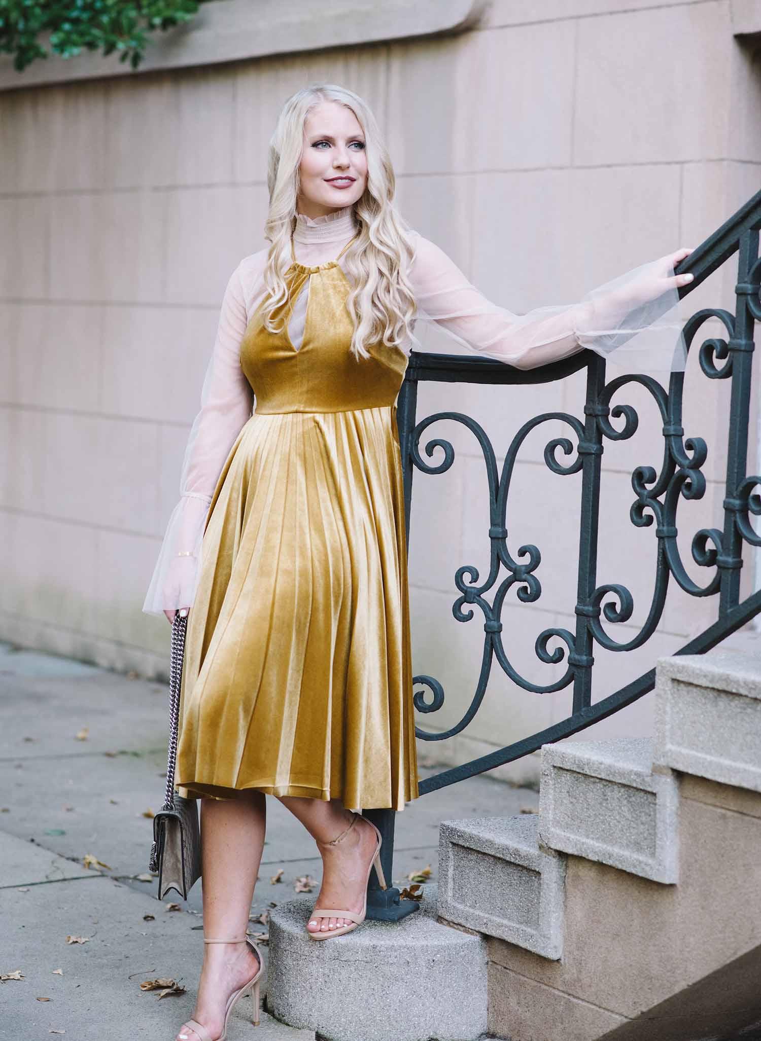 velvet pleated dress